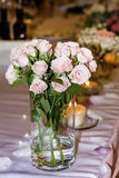 Romantic wedding decoration with pink roses  and pearls Royalty Free Stock Images
