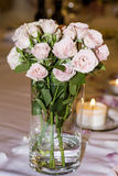 Romantic wedding decoration with pink roses  and pearls Stock Images