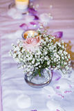 Romantic wedding decoration with pink roses  and pearls Stock Photos