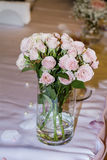 Romantic wedding decoration with pink roses  and pearls Stock Photo