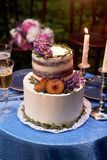 Romantic wedding dinner, in the Park by the water. Lots of green. Beautiful white tiered cake decorated with flowers and stock photo