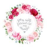 Romantic wedding floral vector design round card Royalty Free Stock Photos