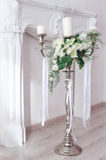 Romantic wedding flower bouquet with candlestick Royalty Free Stock Images