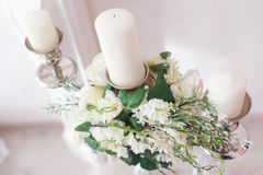 Romantic wedding flower bouquet with candlestick Royalty Free Stock Photo