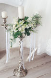 Romantic wedding flower bouquet with candlestick Royalty Free Stock Image