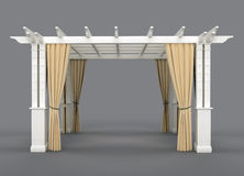 Romantic wedding gazebo. With wooden pergola and drapery.  on gray background Royalty Free Stock Images