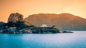Romantic wedding on greek island Stock Images
