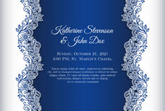 Romantic wedding invitation with blue background a Stock Photos