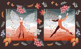 Romantic wedding invitation with elf ballet dancers. Beautiful card with fairy man and woman. Different flowers, maple leaves, ears of wheat, butterflies and Stock Photography