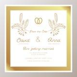 Romantic Wedding invitation with gold rings Stock Photo