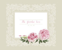 Romantic wedding invitation. Vintage card with pink and yellow flowers and floral white outline frame Royalty Free Stock Photography