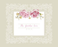 Romantic wedding invitation. Vintage card with pink and yellow flowers and floral white outline frame.  Stock Image