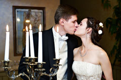 Romantic wedding kiss stock photos