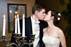 Romantic wedding kiss. Happy groom and bride Stock Photos