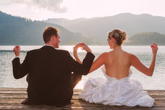 Romantic wedding on the lake Royalty Free Stock Image