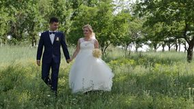 Romantic wedding moment, couple of newlyweds, bride and groom walk in the park. HD stock footage