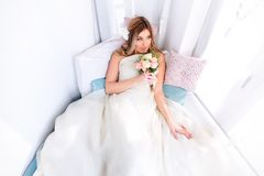 Wedding dress model. Royalty Free Stock Photography