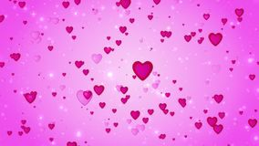 Romantic wedding pink background. The movement of red hearts. Love symbol. Valentine. 3D animation Royalty Free Stock Images