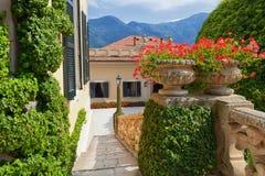 Villa del Balbianello on Lake Como, Lenno, Lombardia, Italy. Romantic wedding place on Como Lake - famous Villa del Balbianello, Lenno, Lombardia, Italy stock photo