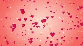 Romantic wedding red background. The movement of red hearts. Love symbol. Valentine. 3D animation stock footage