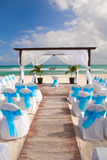 Romantic Wedding  on Sandy Tropical Caribbean Beach. Royalty Free Stock Photography