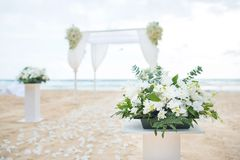 Romantic Wedding setting on the sea beach. royalty free stock photos