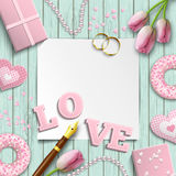 Romantic wedding or valentine motive, inspired by flat lay style, illustration Stock Images