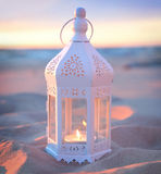 Romantic white lantern Stock Photos