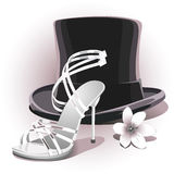 Romantic white wedding shoe Stock Images