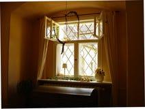 Romantic window. Open window of a castle royalty free stock image