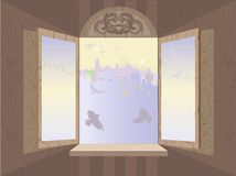 Romantic window. Vector illustration with opened window, morning cityscape and birds Royalty Free Stock Photography