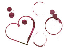 Romantic wine stain. Heart shape and circles made with stain from wine glass stock illustration