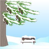 Romantic winter background with green fir tree, brown cone, bench, in white snow on blue sky stock illustration