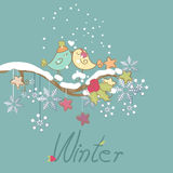 Romantic winter card. With birds in love Royalty Free Stock Image