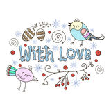 Romantic winter card. With love. Doodle  illustration Stock Image