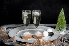 Romantic winter Evening with champagne for two royalty free stock photo