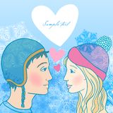 Romantic winter illustration of young couple Stock Images