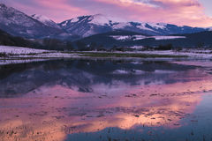 Romantic winter sunset on the puddle Royalty Free Stock Photos