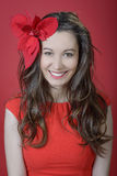 Romantic woman. Wearing flower and cute red dress royalty free stock photos