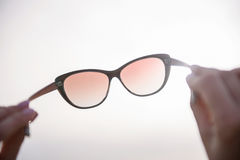 Romantic woman carrying glasses opposite sunshine Royalty Free Stock Photos