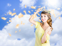 Romantic woman dreaming of a sky filled romance Royalty Free Stock Images