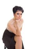 Romantic woman in elegant black dress Stock Photos