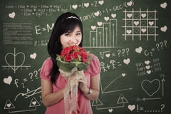 Romantic woman with flowers Stock Photography