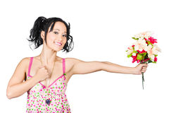 Romantic woman giving flower bouquet. Thank you Royalty Free Stock Photo
