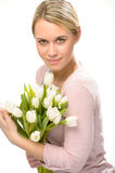 Romantic woman hold bouquet white tulip flowers Stock Image