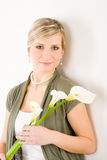 Romantic woman hold calla lily flower stock images