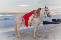 Romantic woman and horse. Romantic woman on horse on  summer beach Stock Photos