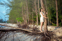 Romantic woman hug a tree on tropical beach Stock Photos