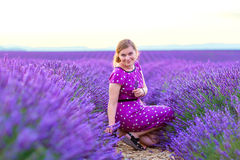 Romantic woman in lavender fields, having vacations in Provence, royalty free stock images