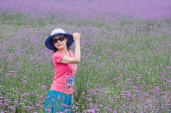 Romantic woman in lavender fields Stock Photo